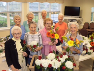 Pictured back row, left to right, are Londonderry on the Tred Avon residents Clare Kettell, Nancy Collins, Barbara Roach, and Gail Woodall. Pictured front row, left to right, are Lorene Anderson, Natalie Caccia, Arlene McKinnon, and Betty Wieland.