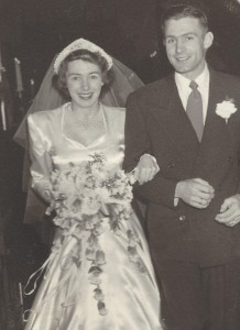 Bill and Margie Blood on their wedding day in a blizzard in December 1949.