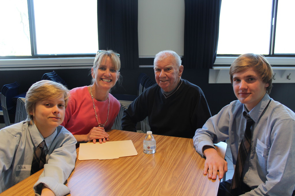 Pictured left to right are Sts. Peter's and Paul's student Nick Ransom, Karen McLaughlin, language arts teacher at Sts. Peter's and Paul's High School; Londonderry resident Frank Hinchion, and student Zach Pelczar. Forty-three eighth graders participated in this year's intergenerational writing/interviewing experience with residents of Londonderry on the Tred Avon and seniors of the Talbot Community Center.